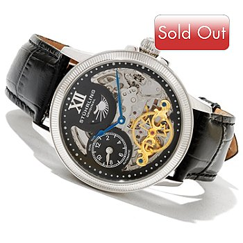 621-288 - Stührling Original Men's DT Bridge Automatic GMT Leather Strap Watch