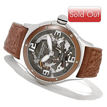 621-293 - Stührling Original Men's Alpine Reaper Automatic Skeletonized Leather Strap Watch
