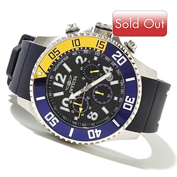 621-407 - Invicta Men's Pro Diver Quartz Chronograph Carbon Fiber Dial Polyurethane Strap Watch