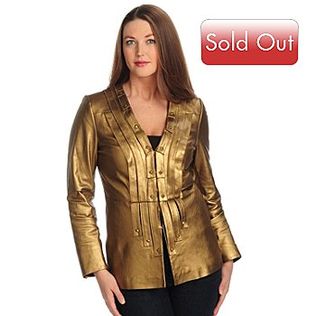 700-034 - Pamela McCoy V-Neck Leather Jacket with Leather Strips & Embellishments