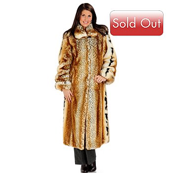 700-464 - Pamela McCoy Shirt Collar Faux Fur Full Length Coat