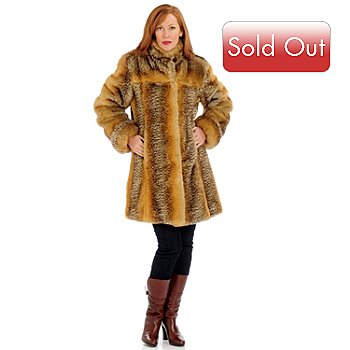 701-120 - Pamela McCoy Stand Collar Faux Fur 3/4 Length Coat