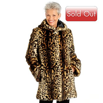 701-132 - Pamela McCoy Hooded Faux Fur 3/4 Length Coat