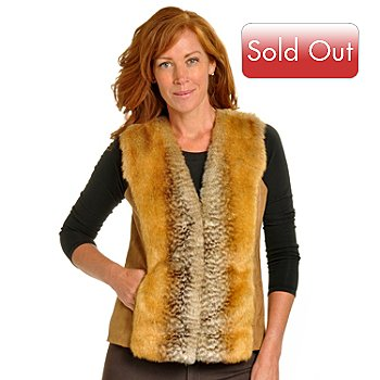 702-164 - Pamela McCoy Hook & Eye Closure Faux Fur & Faux Suede Vest
