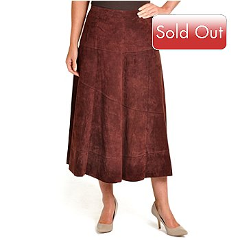 702-184 - Pamela McCoy Diagonal Seamed Ankle Length Washable Suede Skirt