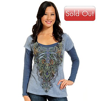 702-332 - One World Printed Four-Button Heathered Knit Layered Henley