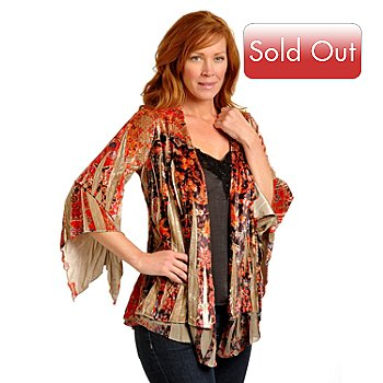 702-369 - One World Printed Stretch Velvet Jacket & Embellished Satin Camisole Set