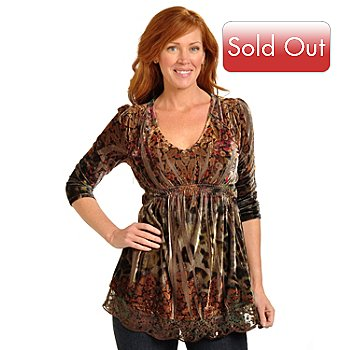 702-375 - One World 3/4 Sleeve Lace & Sequin Embellished Stretch Velvet Top
