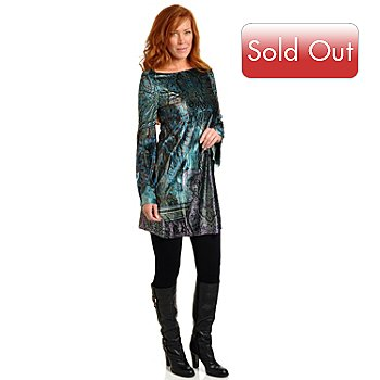 702-380 - One World Bell Sleeved Printed Stretch Velvet A-Line Tunic