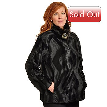 702-488 - Pamela McCoy Raglan Sleeve Stand Collar Buckle Accent Pony Hair & Mink Faux Fur Jacket