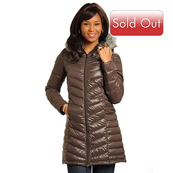 702-558 - Big Chill Packable 3/4 Length Lightweight Down Jacket w/ Removable Faux Fur Hood