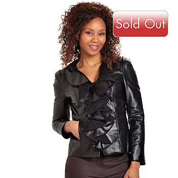 702-648 - Pamela McCoy Ruffled Front Black Leather Jacket