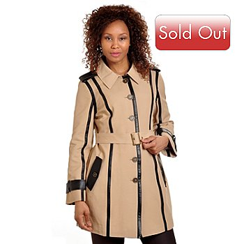 702-653 - Pamela McCoy Full Length Brushed Twill Trench Coat
