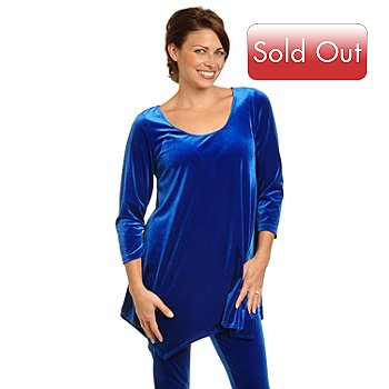 702-692 - aDRESSing WOMAN 3/4 Sleeve Handkerchief Hem Stretch Velvet Tunic