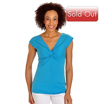 702-815 - Geneology Short Sleeved Knot Front Knit Top