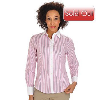 702-905 - Brooks Brothers® Button Front Pick Stitch Detailed Woven Blouse