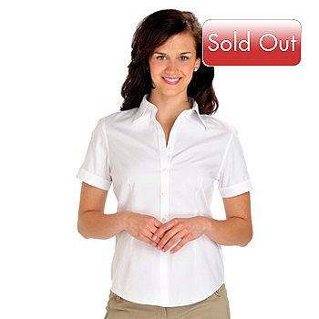 702-910 - Brooks Brothers® Short Sleeved Fitted Cotton Blouse