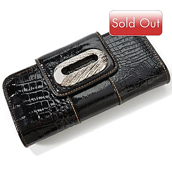 703-289 - Madi Claire ''Clifton'' Croco Embossed Leather Wallet w/ Rhinestones