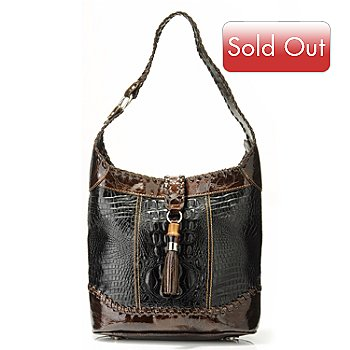 703-427 - Madi Claire ''Dahlia'' Tassel Detail Croco Embossed Leather Shoulder Handbag
