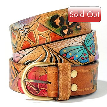 703-835 - ''As Is'' Anuschka Hand-Painted Leather Ladies Belt