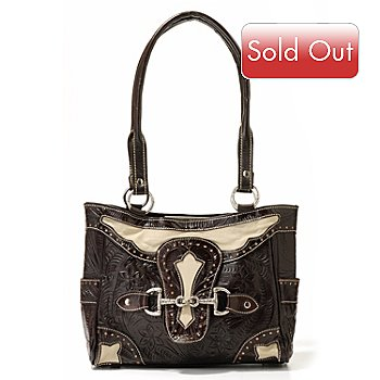 703-958 - American West Motif Choice Three-Compartment Hand Tooled Leather Handbag