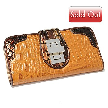 703-982 - Madi Claire ''Riley'' Croco Embossed Leather Turn Lock Wallet
