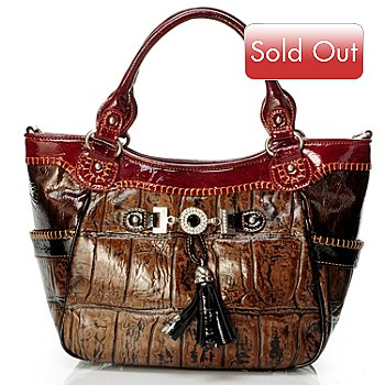 704-020 - Madi Claire ''Zoey'' Croco Embossed Leather Top Handle Satchel
