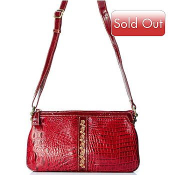 704-026 - Madi Claire Croco Embossed Leather ''Kaylee'' Cross Body Bag
