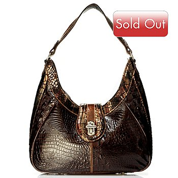 704-162 - Madi Claire ''Elyse'' Metallic Trim Croco Embossed Leather Hobo Bag