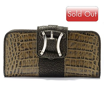 704-197 - Madi Claire ''Sydney'' Croco Embossed Leather Flap Wallet