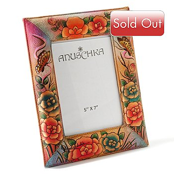 704-253 - Anuschka 5'' x 7'' Hand Painted Leather Photo Frame