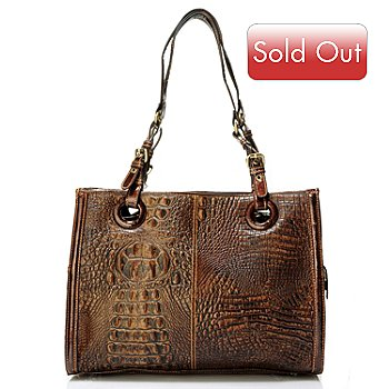 704-304 - Madi Claire ''Rebecca'' Matte Croco Embossed Leather Large Tote Bag