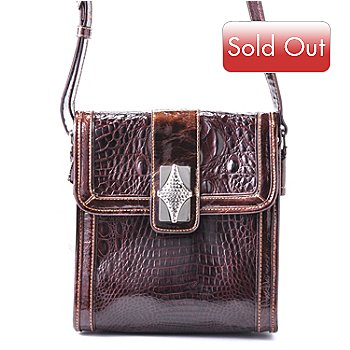 704-312 - Madi Claire Croco Embossed Leather ''Presley'' Front Flap Organizer Cross Body Handbag