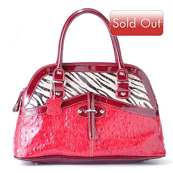 704-419 - Madi Claire ''Haley'' Ostrich Embossed Leather Dome Satchel