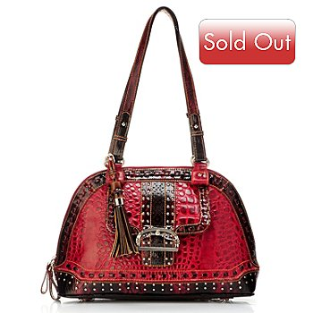 704-429 - Madi Claire ''Keira'' Croco Embossed Leather Dome Satchel