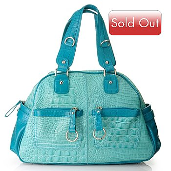 704-450 - Madi Claire ''Bailey'' Croco Embossed Leather Bowling Bag