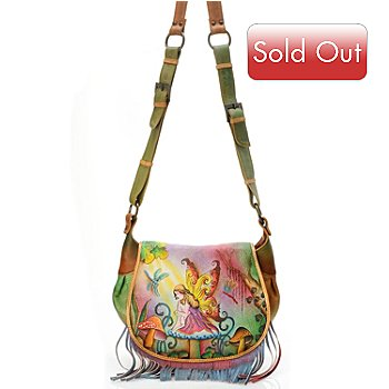 704-499 - Anuschka Hand Painted Leather Fringed Flap Saddle Bag