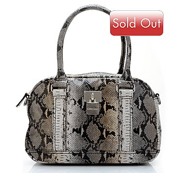 704-507 - Calvin Klein Handbags Python Embossed Leather Convertible Duffle