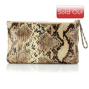 704-652 - Love, Carson by Carson Kressley Reversible Snakeskin Design To Sequin Clutch