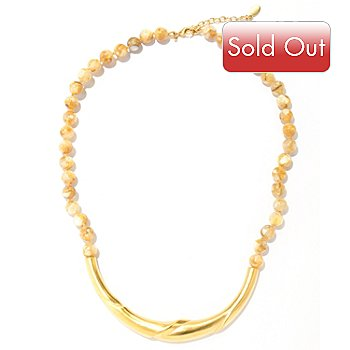 704-667 - Brooks Brothers® 16'' Gold Plated  Mother-of-Pearl Bead Necklace w/ 2'' Extender