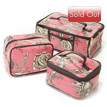 705-623 - Murval Floral Toile Waxed Canvas Cosmetic Cases - Set of Three