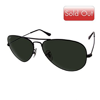 706-283 - Ray-Ban Unisex RB3025 Black Metal Frame & G-15 Lenses Aviator Sunglasses