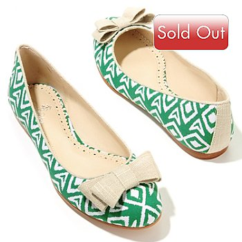 709-205 - Brooks Brothers® Bow Detailed Ikat Print Ballet Flats