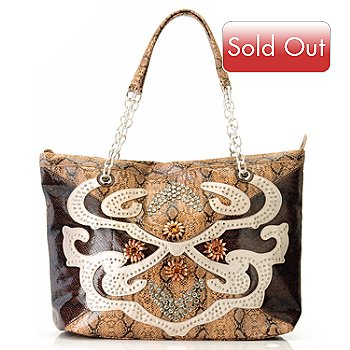 709-210 - Bag Chique Rhinestone Detailed Snake Print Tote Bag