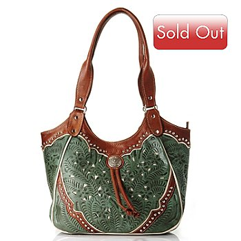 709-361 - American West  Hand Tooled Leather Scoop Top Tote Bag