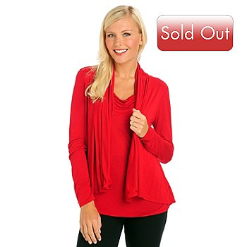 709-448 - Kate & Mallory Cowl Neck Long Sleeved Drape Front Top  w/ Attached Cardigan