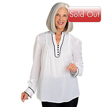 709-452 - Kate & Mallory Mandarin Collar Contrast Piping V-Neck Woven Blouse