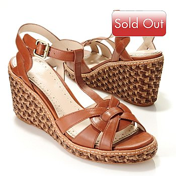 709-461 - Brooks Brothers® Leather Straw-Covered Wedge Sandals