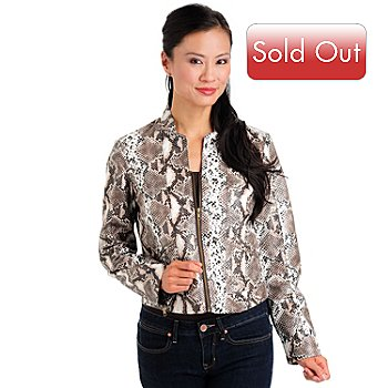 709-492 - Fever Stand Collar Zipper Front Snake Printed Jacket