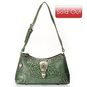 709-504 - American West Stud Detail Hand Tooled Leather Shoulder Bag